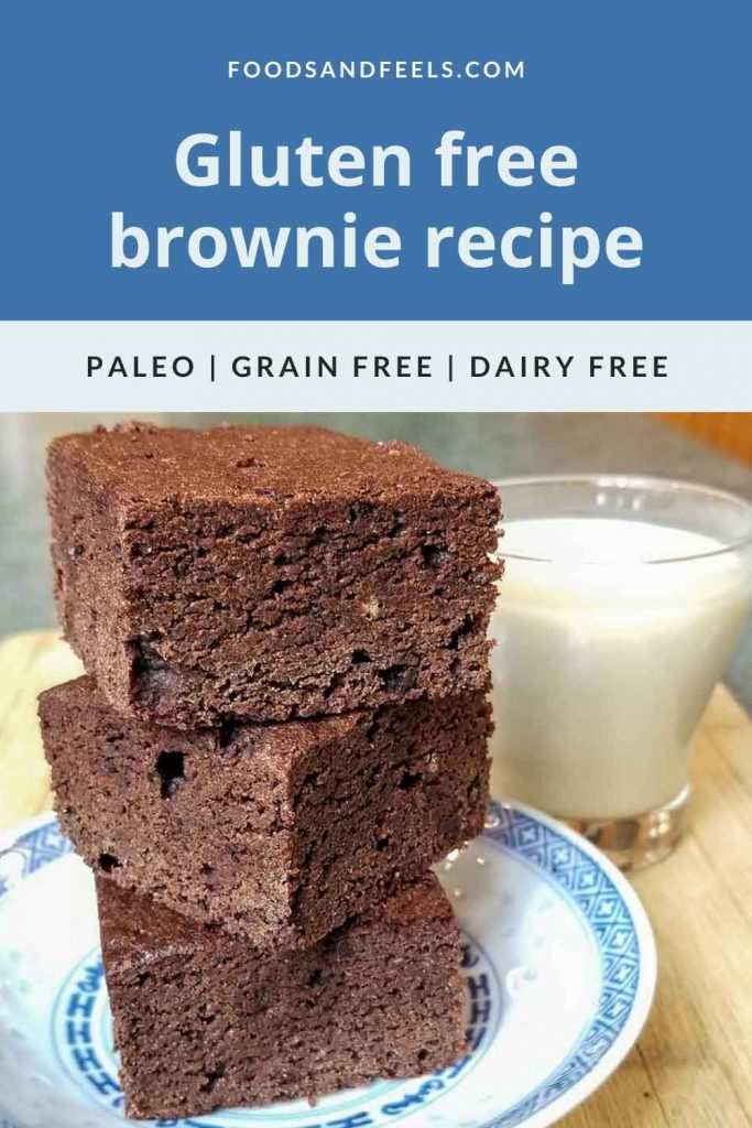 Three gluten-free brownies stacked up on a plate with a glass of dairy free milk