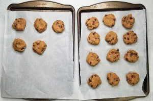 17 rolled out cookies on baking sheet ready to be cooked