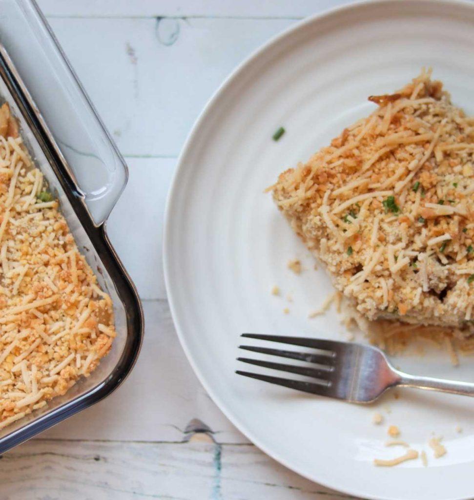 gluten-free-dairy-free-tuna-casserole-on-white-plate