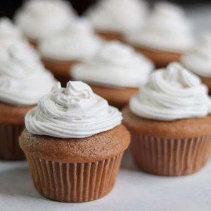 vanilla bean cupcakes on counter top
